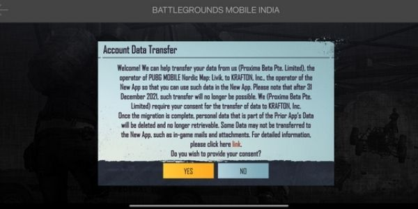Battlegrounds Mobile India account transfer
