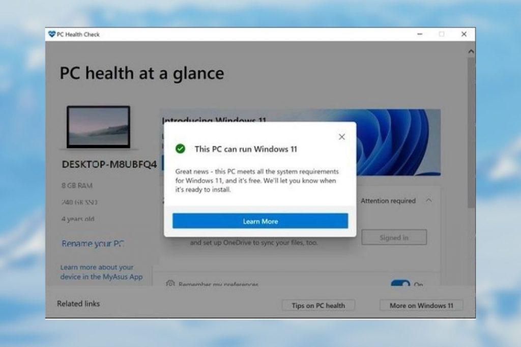 PC health check App for windows 11