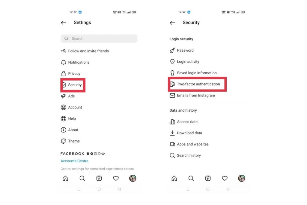 Two-Factor Authentication instagram setting page